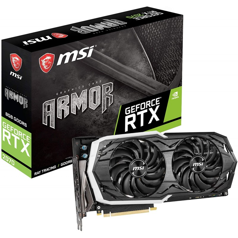 MSI 게이밍 GeForce RTX 2070 8GB GDRR6 256 비트 HDMI / DP / USB 광선 추적 튜링 아키텍처 HDCP 그래픽 카드 (RTX 2070 ARMO, 단일옵션