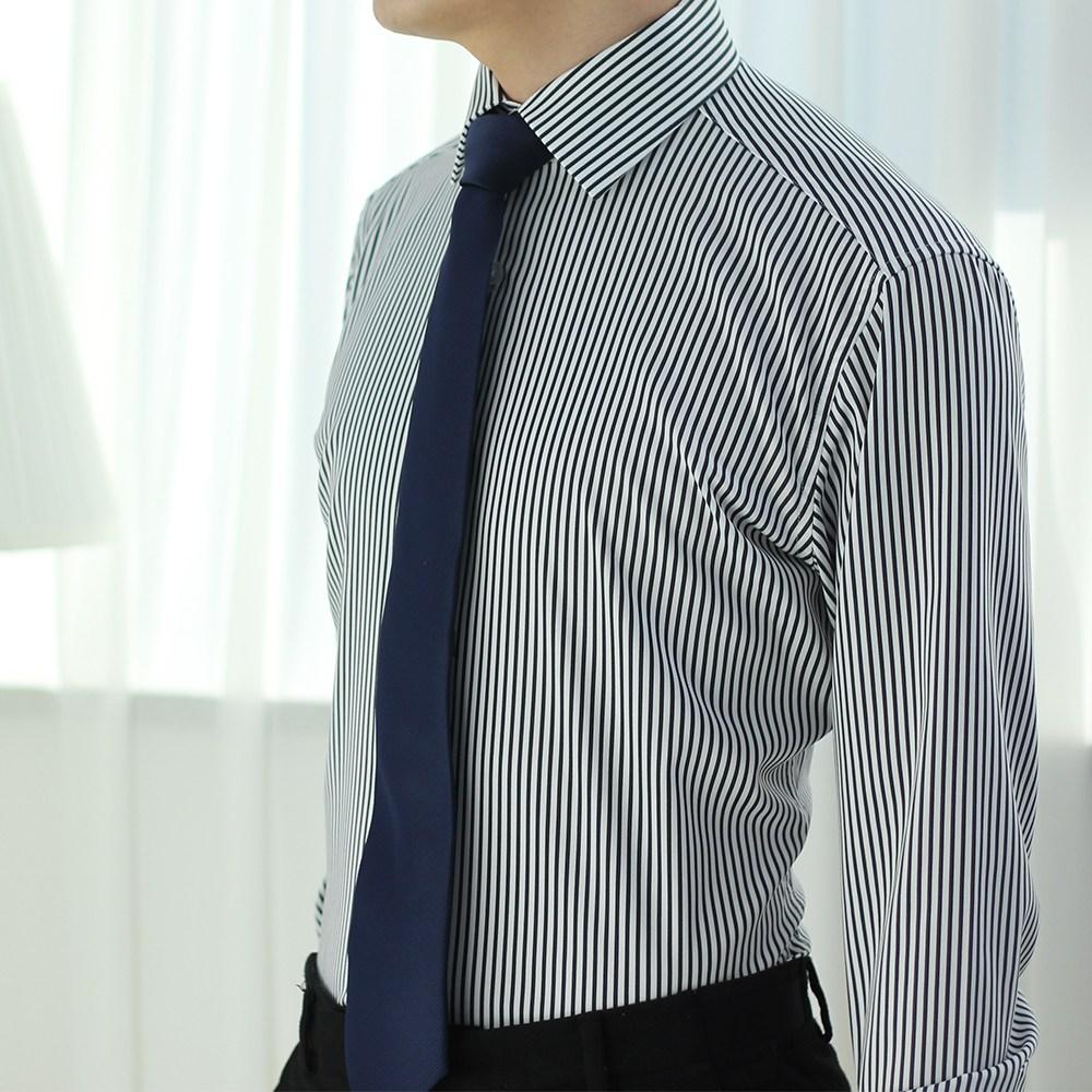어셔츠 구김없는 스판 스트라이프 남자 정장 와이셔츠