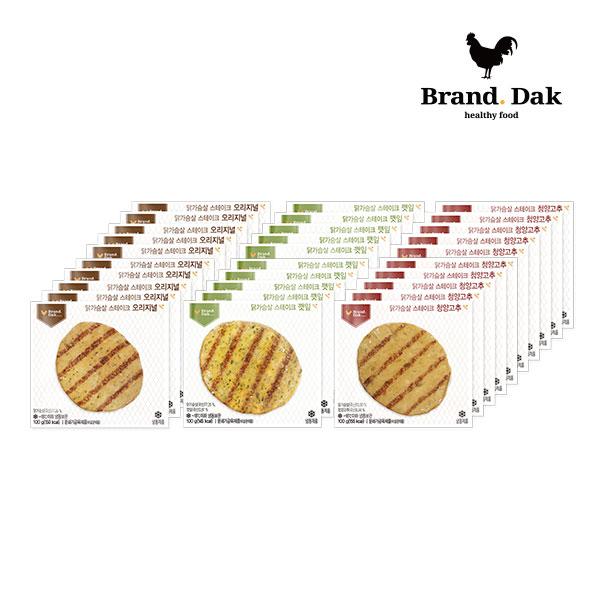 브랜드닭 닭가슴살 스테이크 오리지널10+깻잎10+청양고추10팩, 30팩, 100g