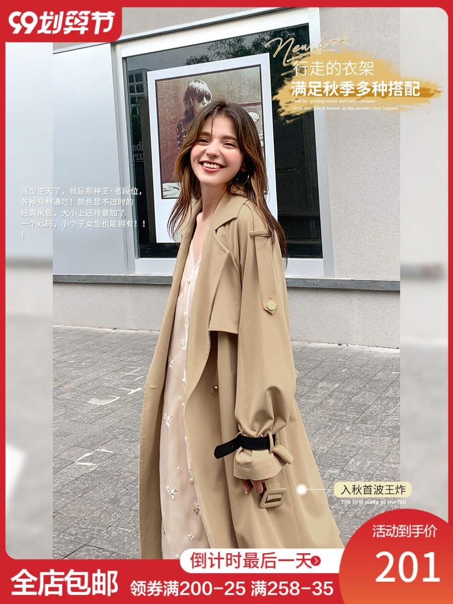 트렌치코트 베이비 코끼리 더블 브레스트 캐주얼 기질 윈드 브레이커 2020 중간 길이 한국 느슨한 여성 가을 코트