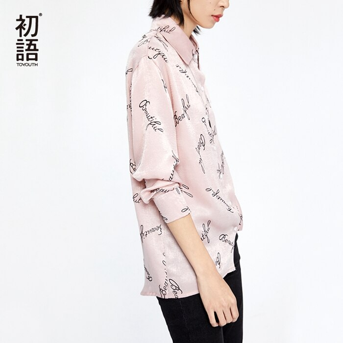 Toyouth satin blouse 긴 소매 편지 인쇄 블라우스 turn down collar 레이디 오피스 셔츠 튜닉 캐주얼 루즈 탑 blusas