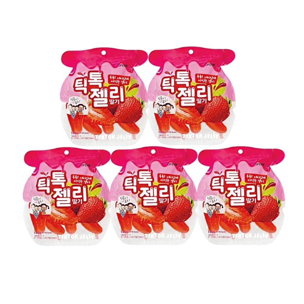 더마시나 쌍둥이루지 틱톡젤리 딸기160g 5봉, 1세트