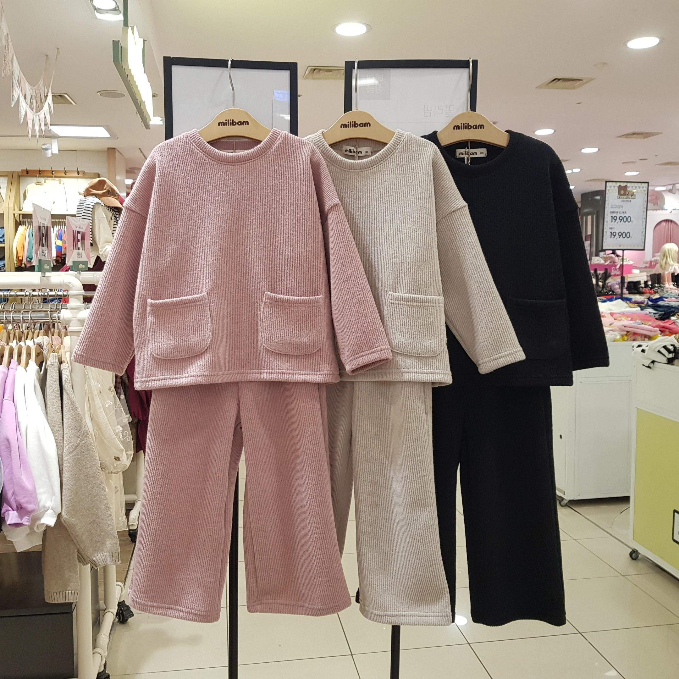 밀리밤 NEW~~2020년 FW핫한 겨울신상 컬렉션 인기많은 너 선택했어~!! 캐주얼룩 활동편한 와이드 투포켓 티셔츠+일자바지 세트룩