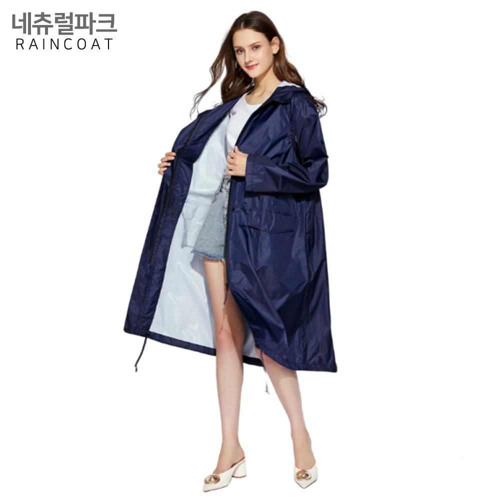 네츄럴파크 컬러 미들 집업 NP-01 네이비 레인코트 여성 우비 비옷 판초우의 성인 여자