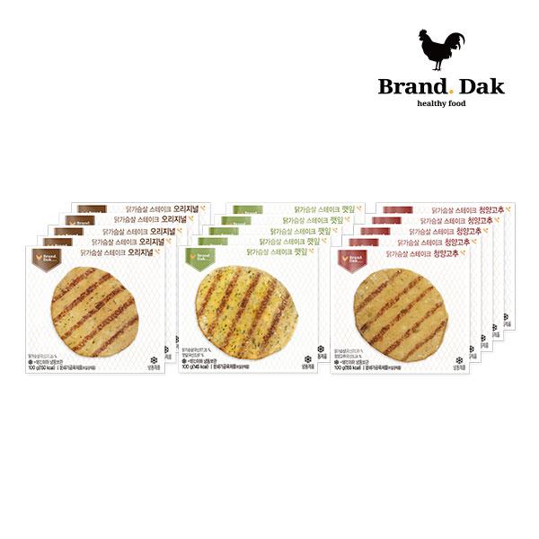 브랜드닭 닭가슴살 스테이크 오리지널5+깻잎5+청양고추5팩, 15팩, 100g