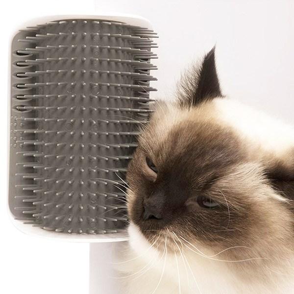 뭐였지 고양이빗 그루밍브러쉬 고양이셀프브러쉬, 1개, 그레이