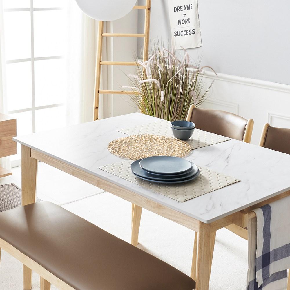 보니애가구 엘리슨 13.5T 화이트 통세라믹 4인용 식탁세트, 테이블 단품, 네츄럴