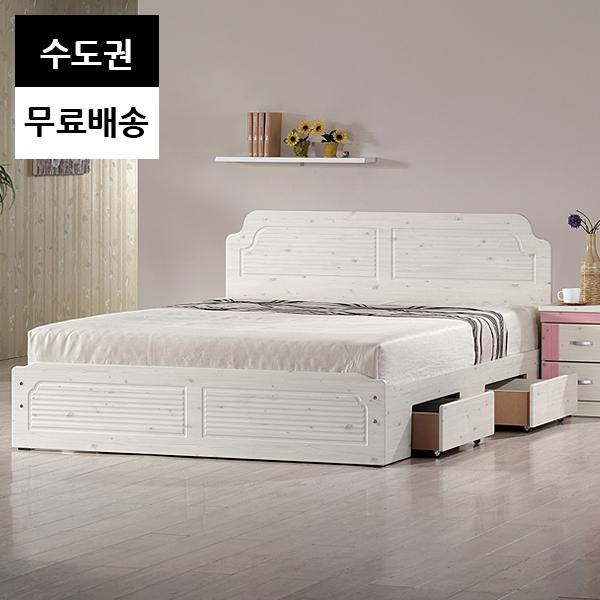 윤 서랍형 높은 2인 침대프레임(퀸사이즈워시), 화이트_퀸침대프레임