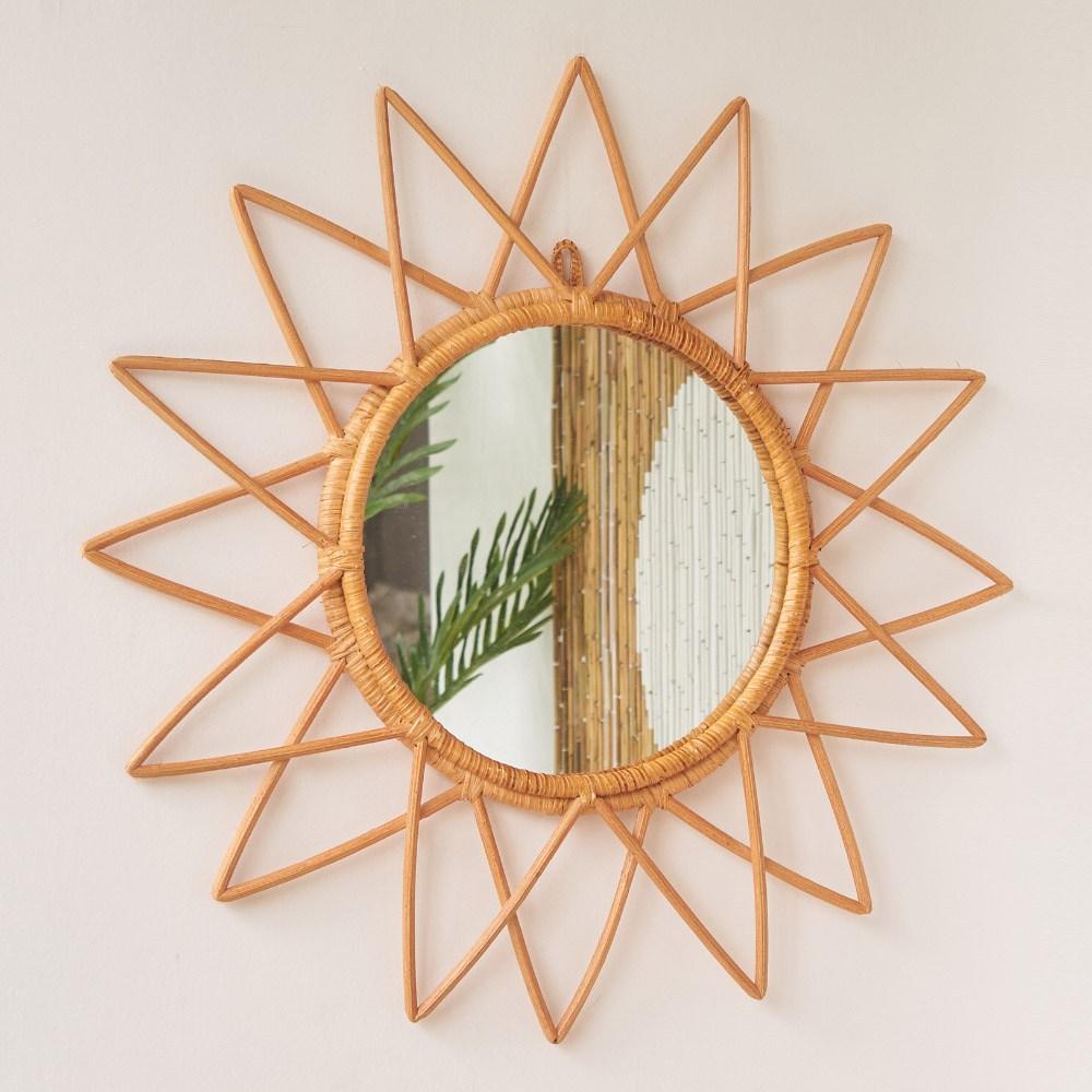 헤븐센스 핸드메이드 라탄 거울, 03.스타 라탄 거울