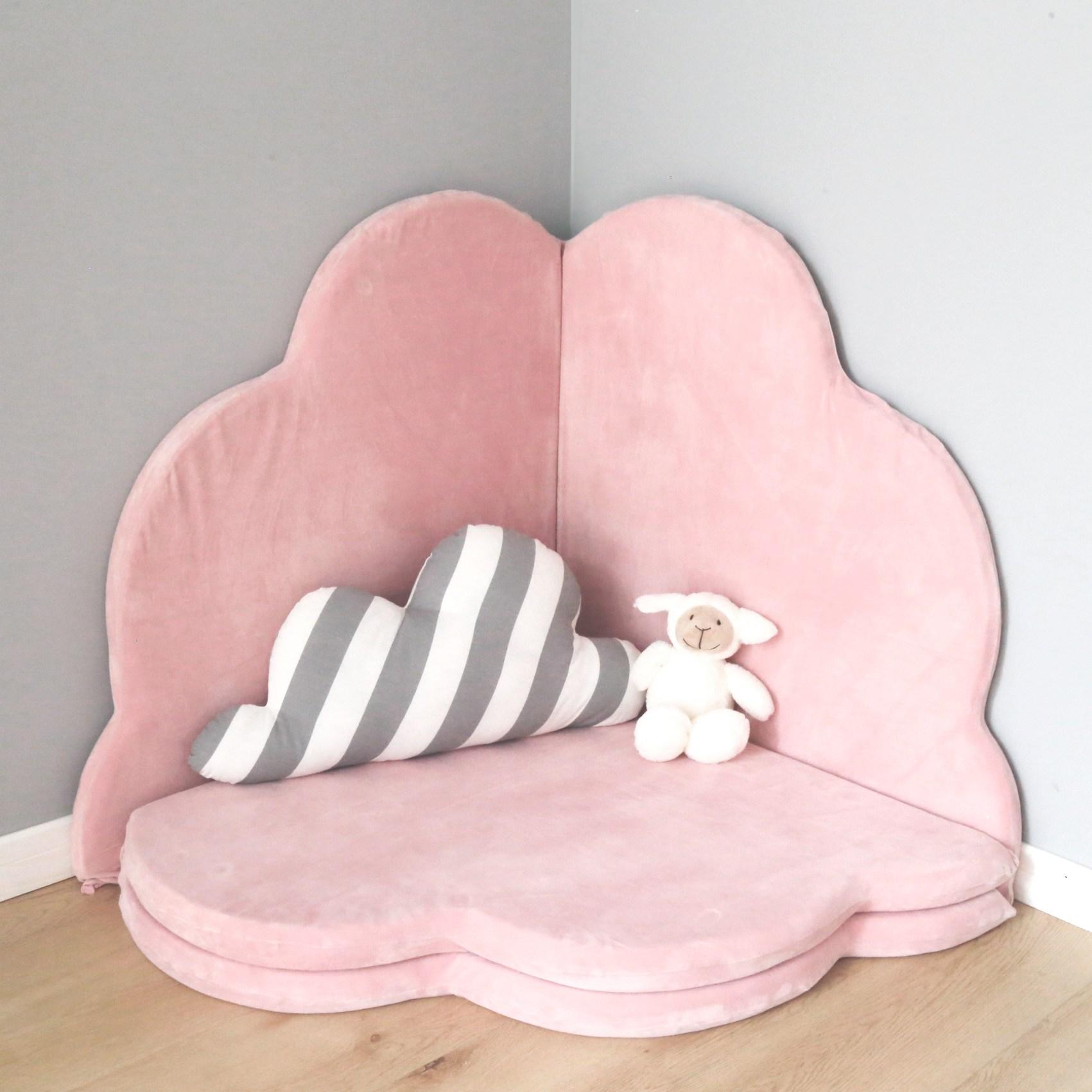 요요하우스 북유럽풍 아기방 원형러그 구름쿠션, 핑크