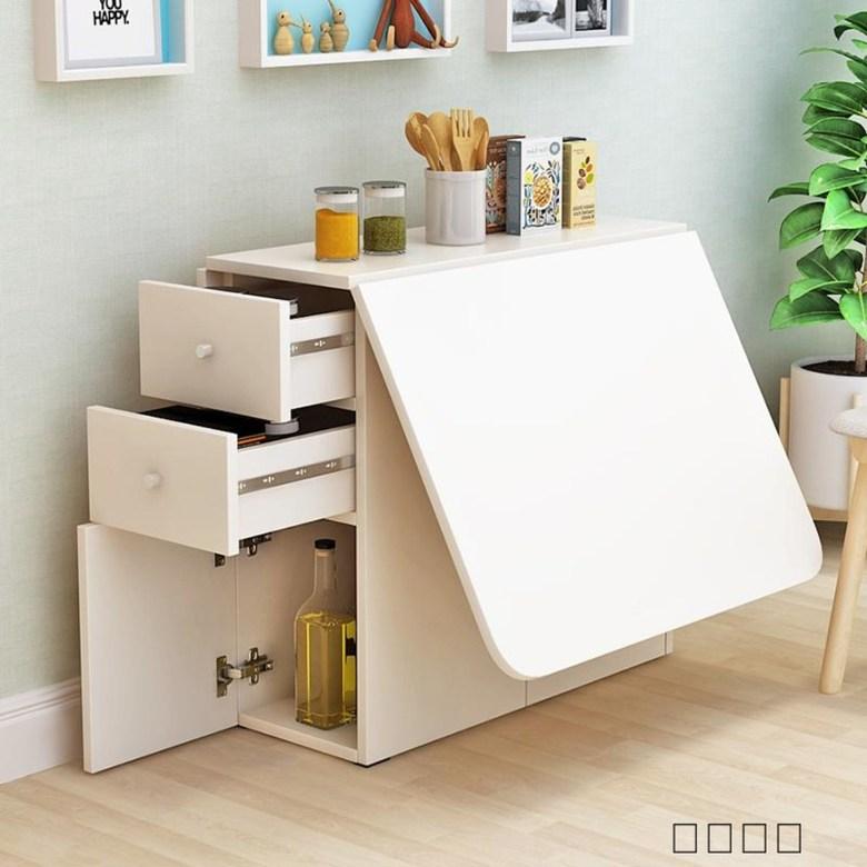 접이식 미니 확장형 식탁 수납형 4인 6인 자취생 원룸 오피스텔 원목 테이블, B- 120cmX60cm