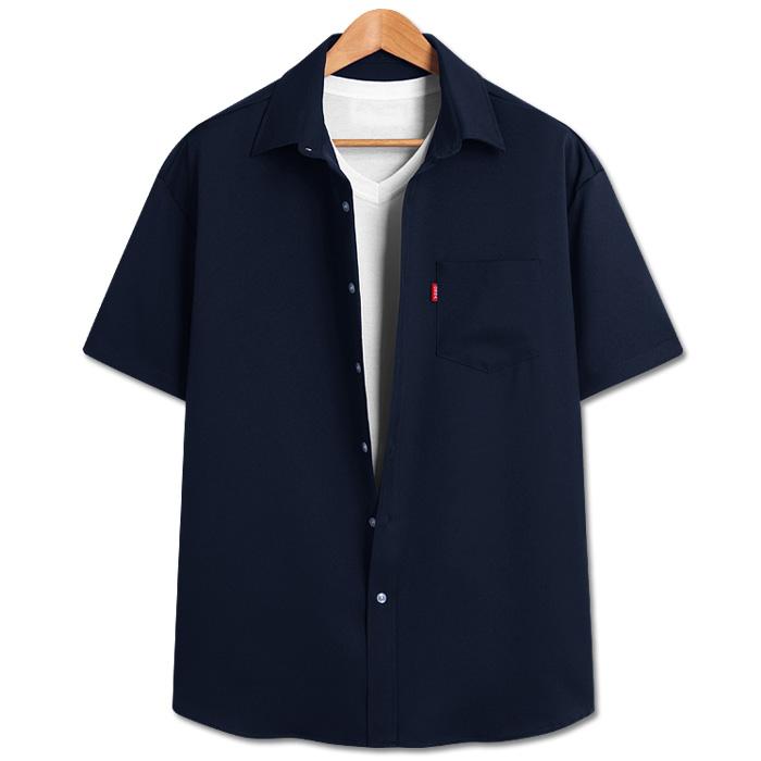 탑보이 남성용 루즈핏 리얼 무지 반팔셔츠 DO417
