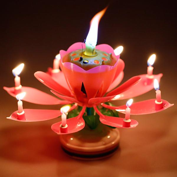 생일초 멜로디 회전캔들 자동개화 연꽃초 1개, 핑크, 1개입