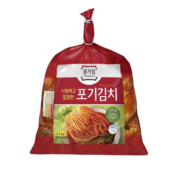 ★아이스박스★종가집 시원깔끔포기김치 3.3kg, 단일상품