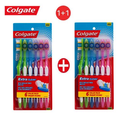 [콜게이트] [1+1] [Colgate] 미국 1위 브랜드_콜게이트 Extra Clean 칫솔 6개입(보통모) x 2세트, 1세트