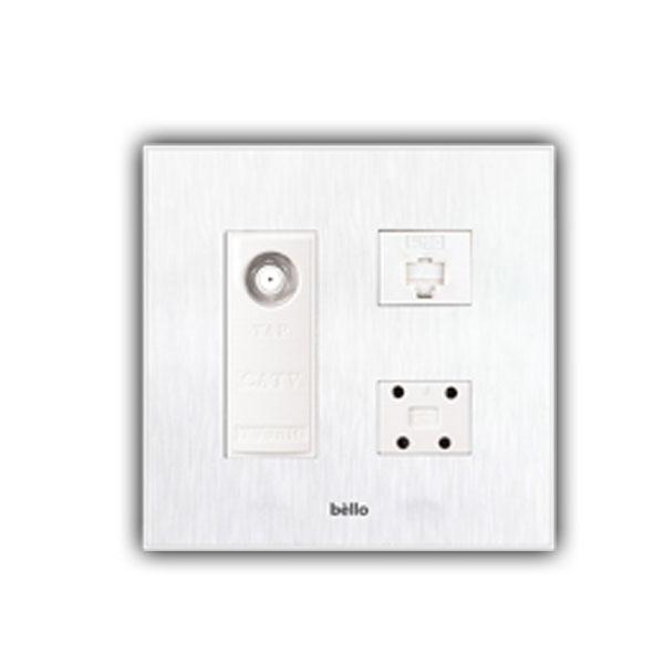위너스 타로시 위너스 벨로 화이트 스위치 콘센트 일괄소등 보조대 전화 TV 복합, CATV2방+전화4P+8P 2개용(벨로화이트)