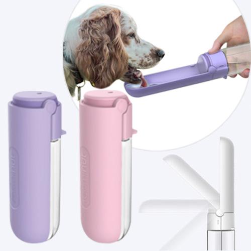 댕댕펫 휴대용 강아지 접이식 버튼 물병, 1개, 핑크