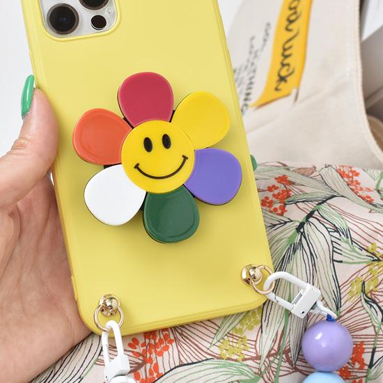 리드박스 레인보우 스마일 꽃 플라워 3단 스마트톡 그립톡 스마트링 휴대폰 거치대, 1개, 단품
