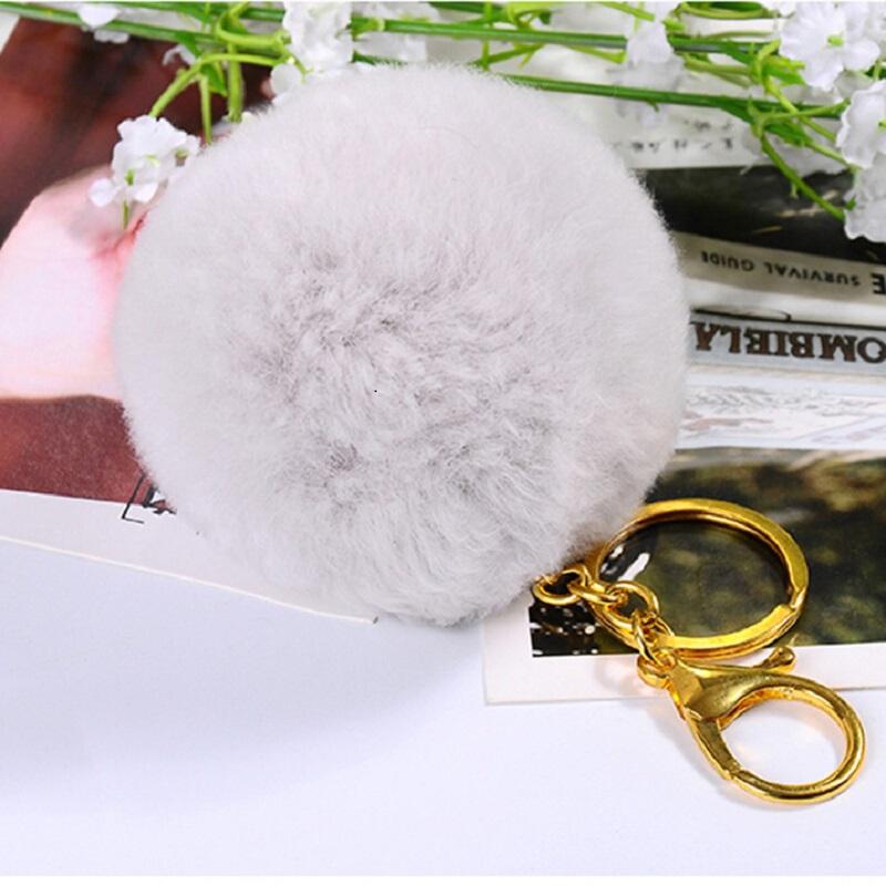 영 밍크 진피 수달포 털 볼 키 버클 버클 액세서리 가방 가방 가방 숄 더 백 팩 자동차 장식 그레이 8cm