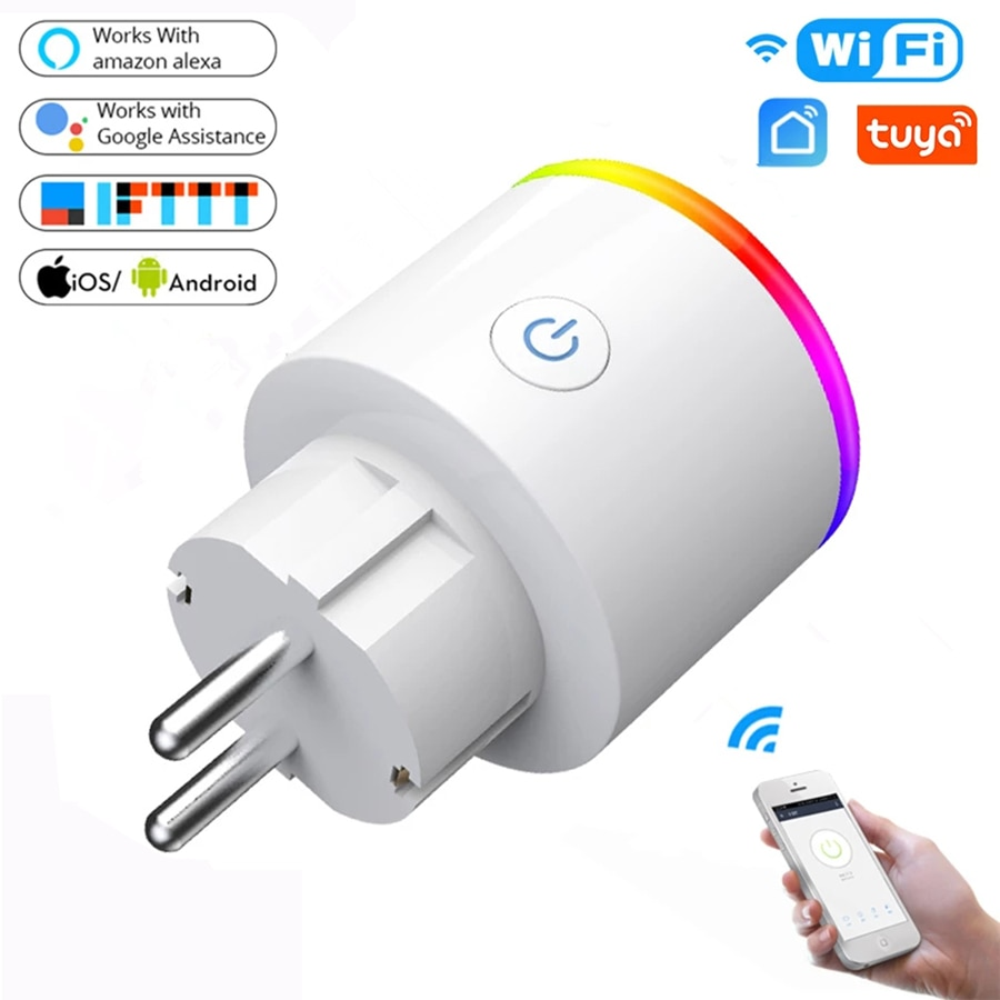 WiFi 스마트 플러그 16A EU 어댑터 LED 무선 원격 음성 컨트롤 전원 모니터 콘센트 타이머 소켓 for Alexa Google Home 스마트, 04 NO LED US PLUG 10A (POP 5607270393)