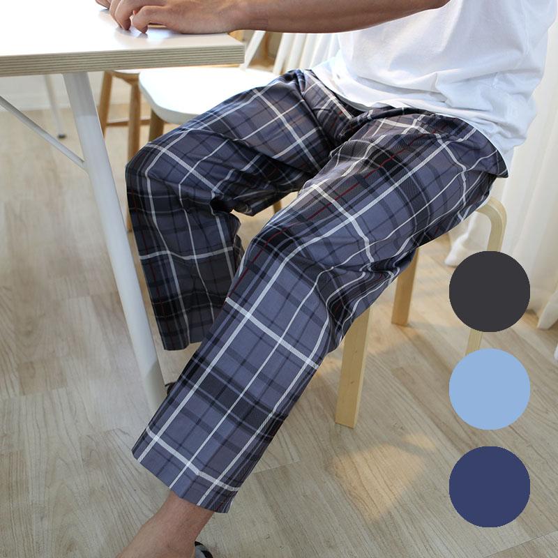 이브유 베이직 면 100% 9부 파자마 남자 잠옷 타탄체크 패턴