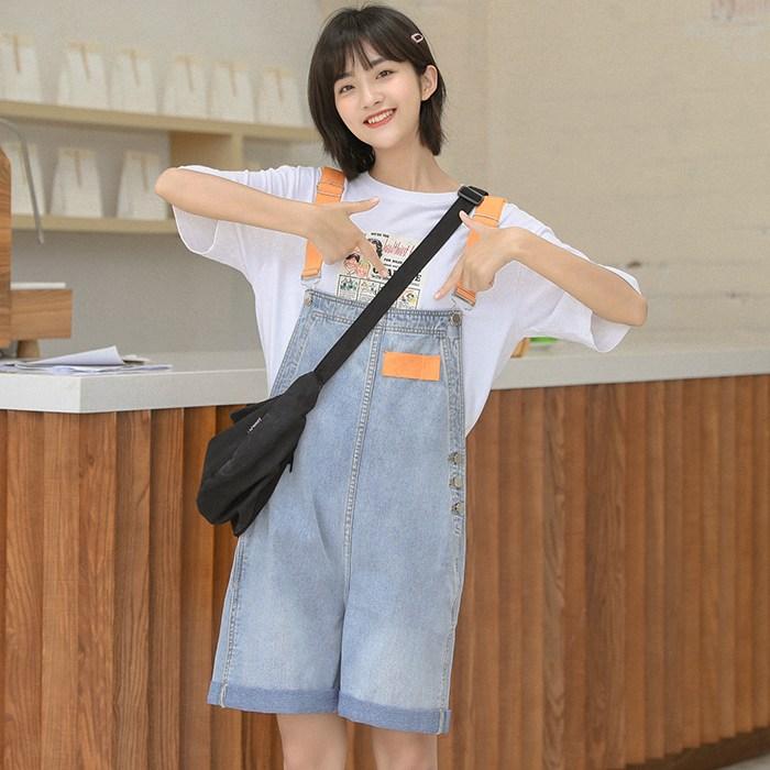 나래쇼핑몰 멜빵청바지 와이드 루즈핏 작은 키 스윗 5부 연한색 여름 멜빵 반바지 여성