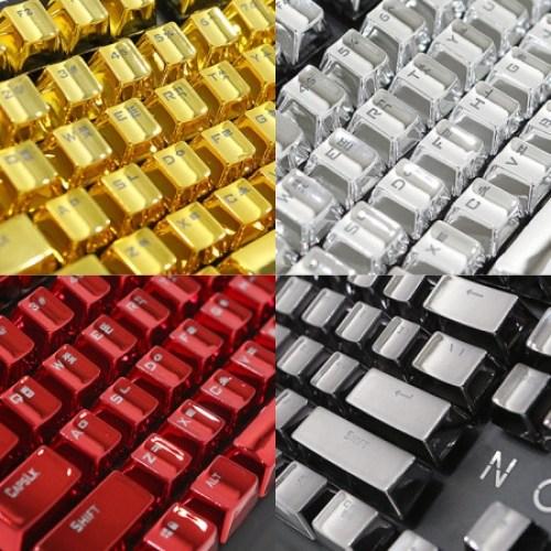 녹스 키캡 기계식키보드 전용 크롬 메탈 104키 세트 황금 골드 실버 레드 유선키보드, 컬러