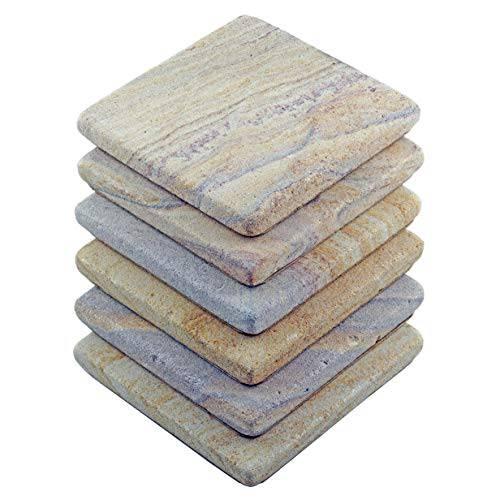 Stella 퍼플 Desert 흡수 Sandstone 음료 코스터 - 세트 of 6 - 프리미엄 내