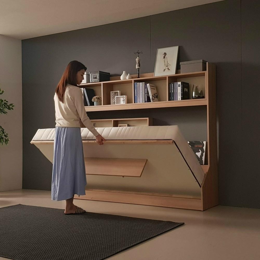 오키미키 좁은방 공간활용 월베드 접이식 벽침대 슈퍼싱글 가로형세로형, 24.세로형+매트리스