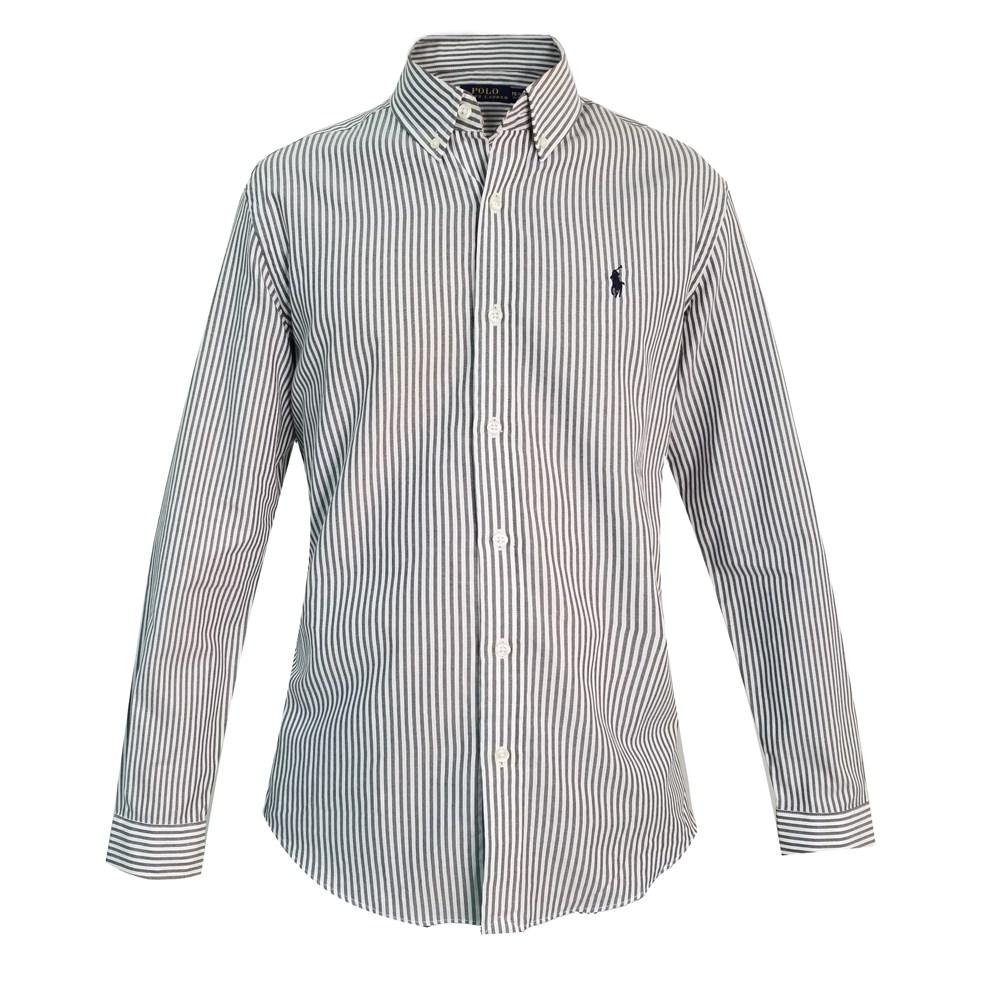 해외직구 폴로 셔츠 Classic-fit 코튼 셔츠 Urban 캐주얼 화이트 블랙 스트라이프 셔츠