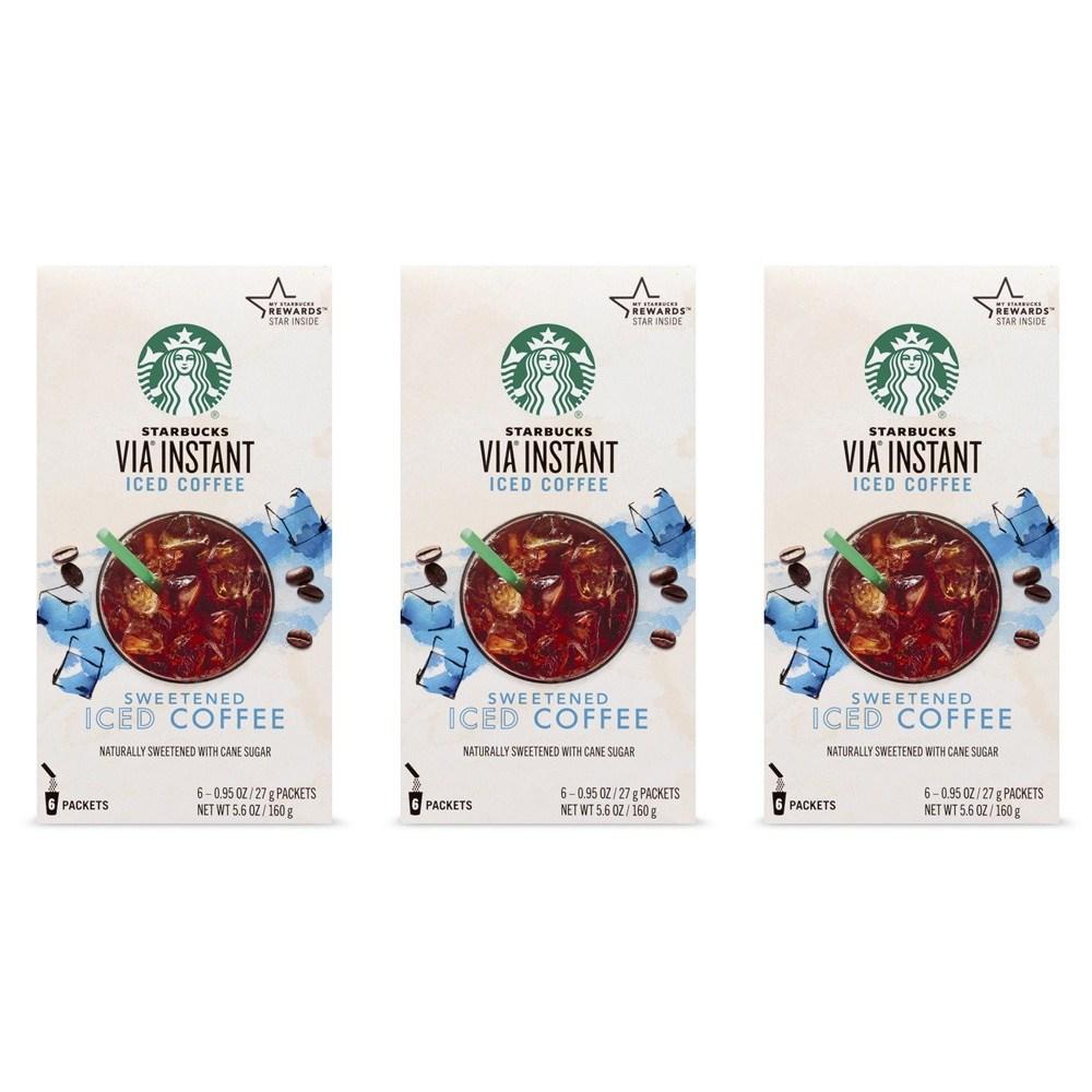 스타벅스 Starbucks VIA Instant Sweetened Iced Coffee 비아 인스턴트 스위트 아이스커피 160g 3팩, 1세트, 1ml