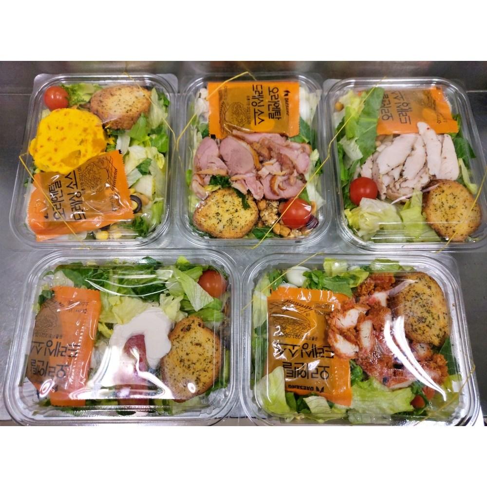샐러드 5종 닭가슴살 훈제오리 돼지고기튀김 쉬림프 감자 약350g이상 x 5개