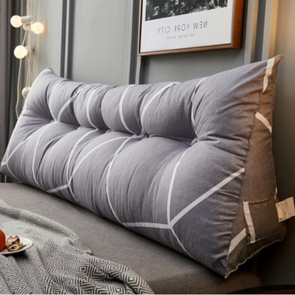북유럽 대형 삼각쿠션 모음 집순이 등쿠션 침대 범퍼 소파 등받이, 1회색체크, 60x25x50 단추없음