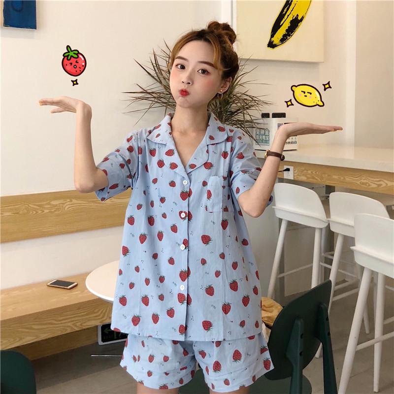반소매 셔츠 여자 친구 딸기 스파오 잠옷