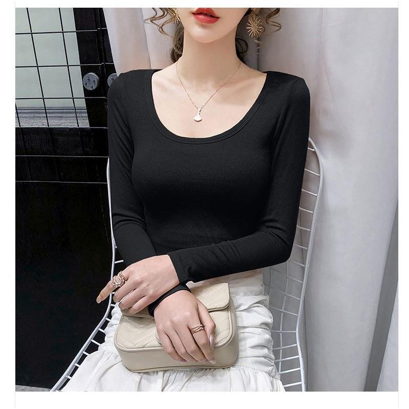 [엔젤D] 티셔츠 여성 U넥 슬림 긴팔 티셔츠