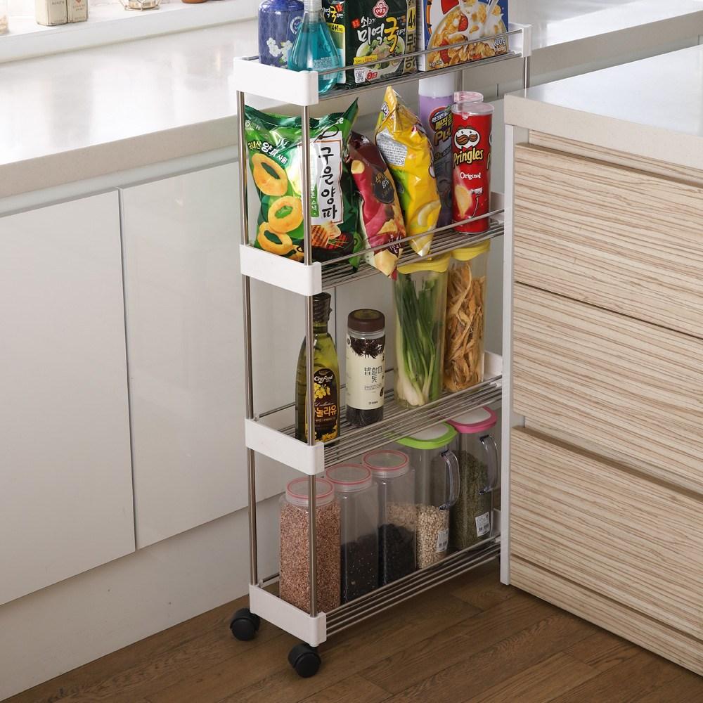 WI 국내제작 냉장고틈새장 3단 4단 바퀴탈부착 얇은수납장 수납장, 틈새선반3단 화이트