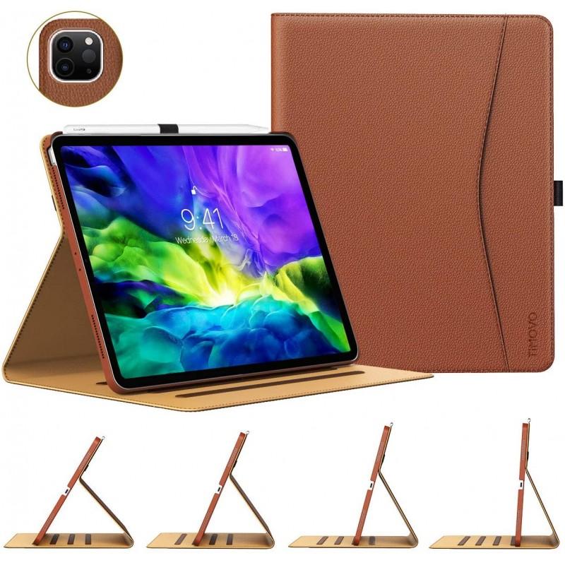 새로운 iPad Pro 11 인치 2020 (2 세대) 용 TiMOVO 케이스 [4 시야각] PU 가죽 접이식 폴리오 케이스 커버 Apple Pencil 쌍, 단일옵션