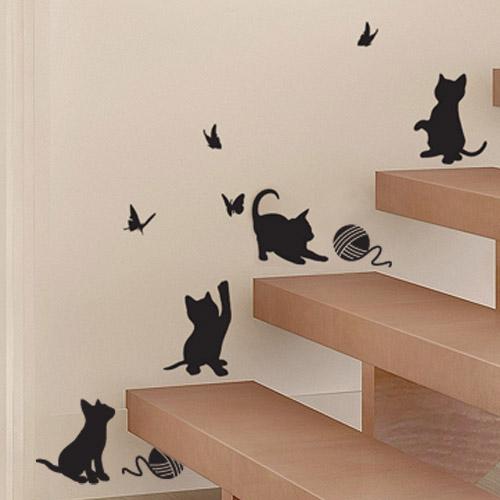 데코코 나비와 아기고양이 포인트스티커, 블랙
