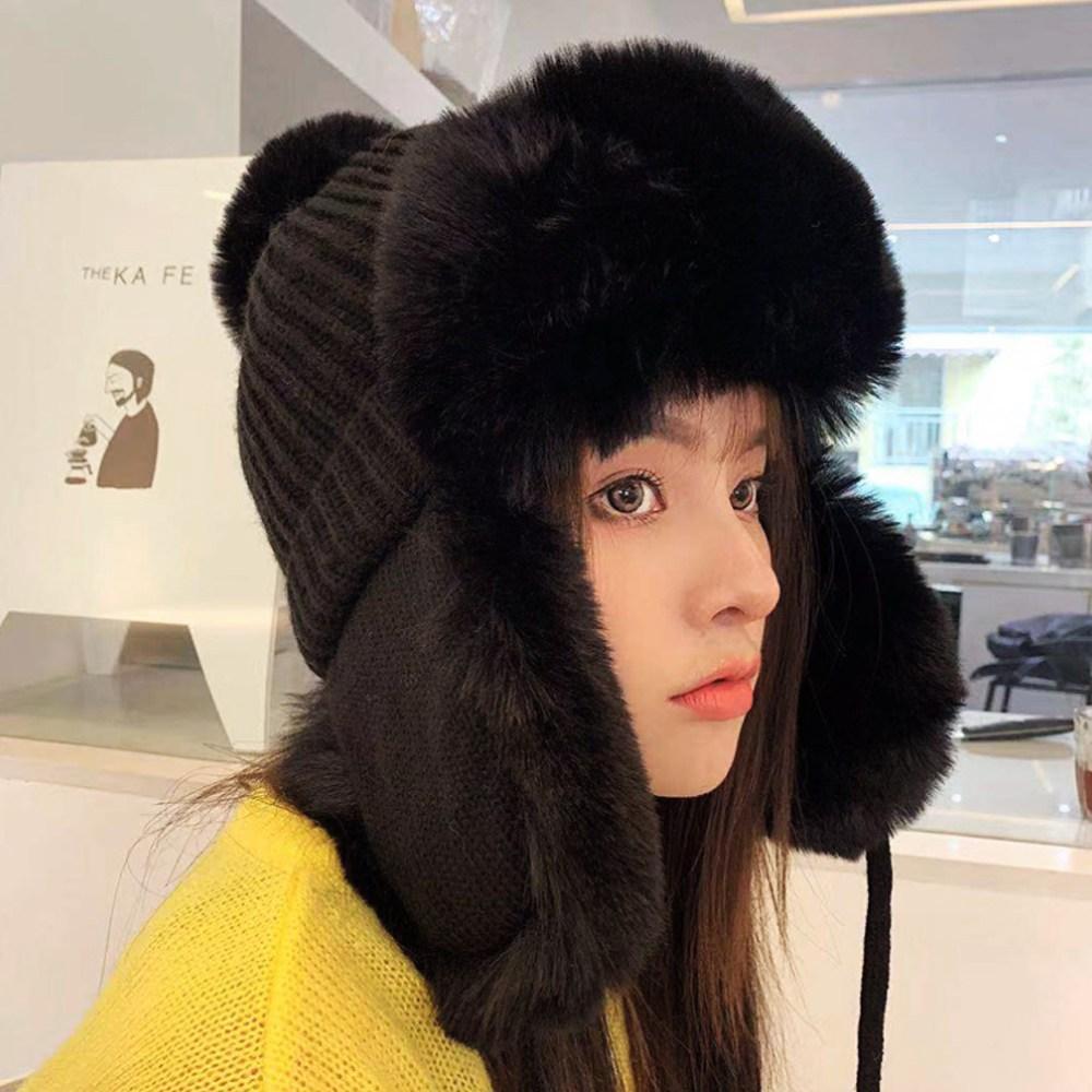 여성용 귀달이 모자 겨울 귀덮개 양털 방울 군밤 귀도리 방한 모자