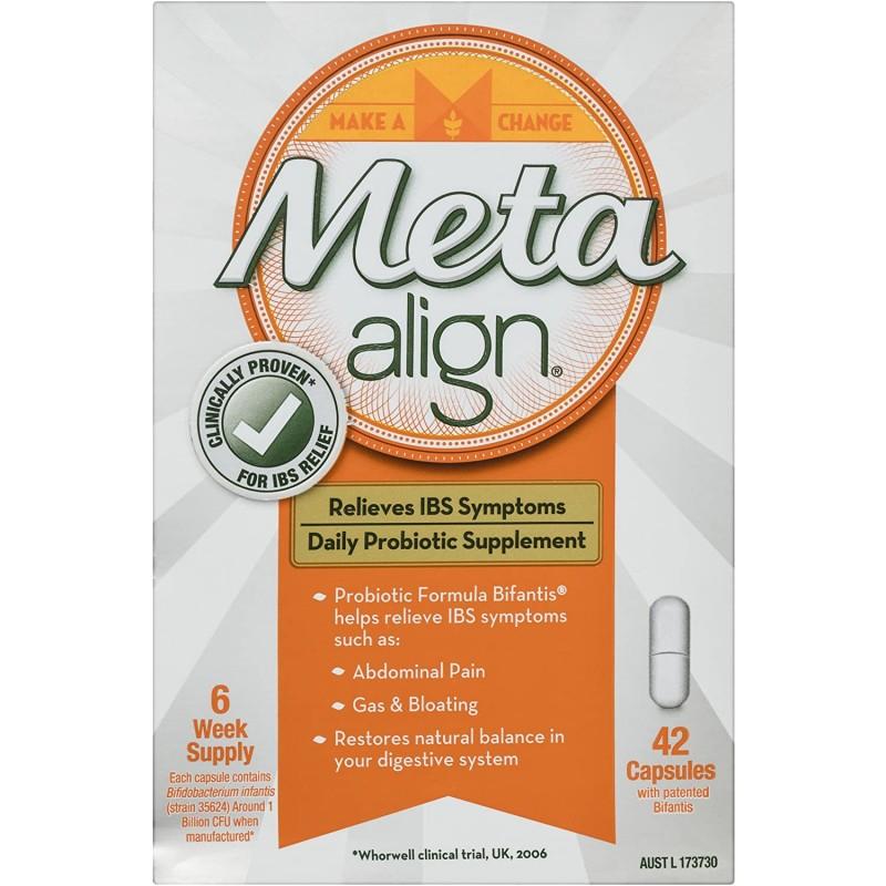 Meta Align-과민성 대장 증후군 및 복부 통증 가스 및 팽창을 포함한 증상 완화를위한 일일 프로 바이오, 1