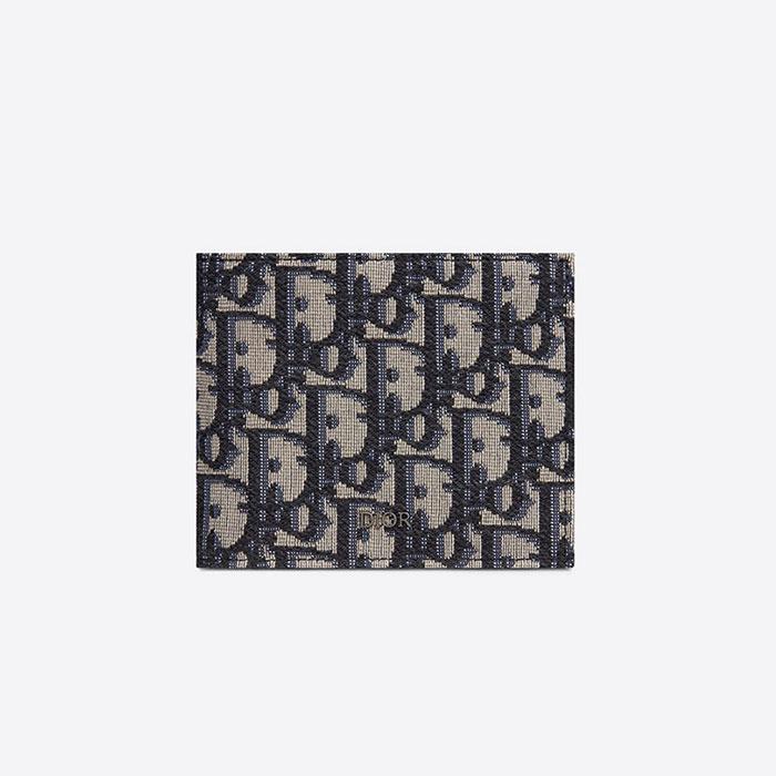 [디올] 오블리크 컴팩트 지갑 (베이지블랙) 2OBBH027YSE_H05E