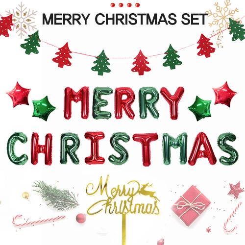 크리스마스 파티 장식 풍선 8종세트 패키지, 3. 메리크리스마스 - 레드&그린 SET