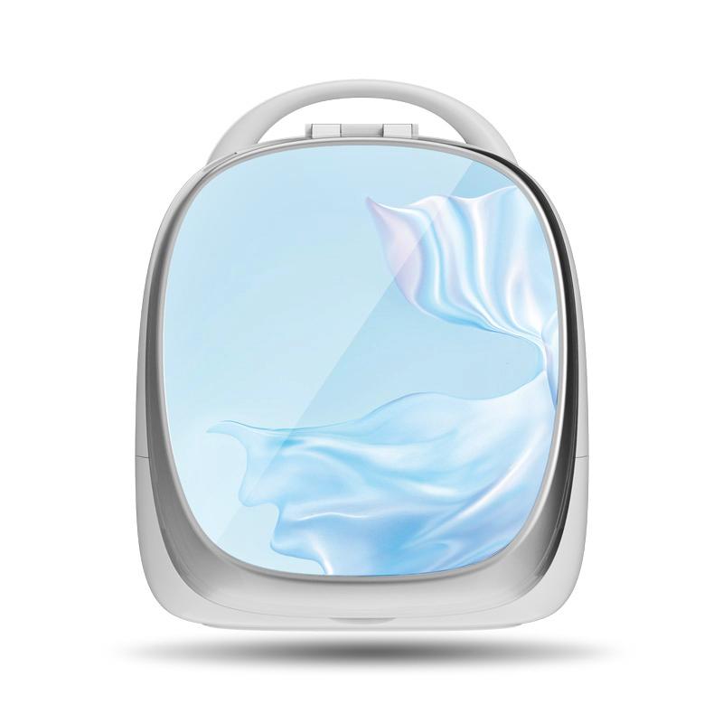 휴대용 스마트 화장대 화장품정리대 홈 탁상시계, 거울 화장 수납 상자 [블루] 디럭스 버전 ★ 화면 없음