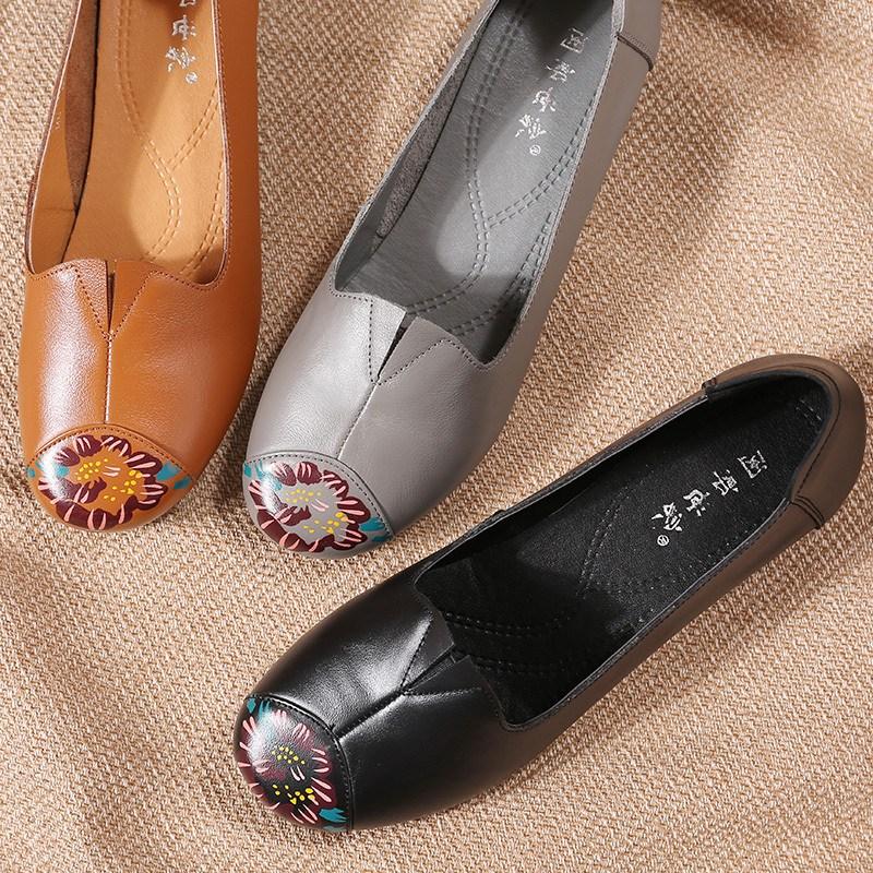 여자로퍼 봄 중년여성 신발굽낮은 어머니신발 진피 단화 소프트한바닥 여성로퍼 오버사이즈