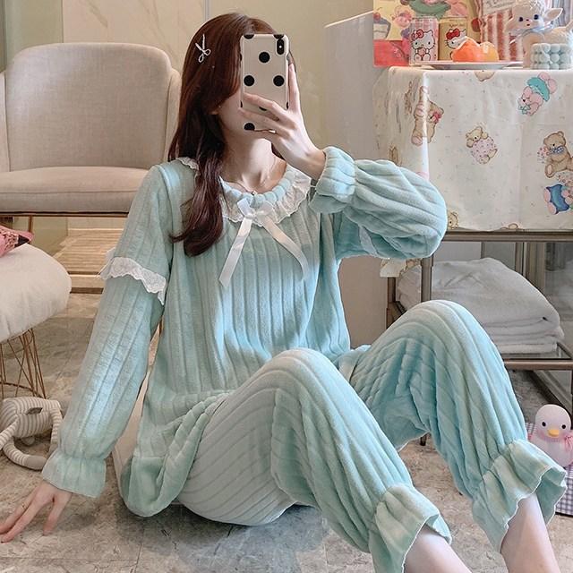 메이시스 겨울 수면잠옷 극세사민트라인SET