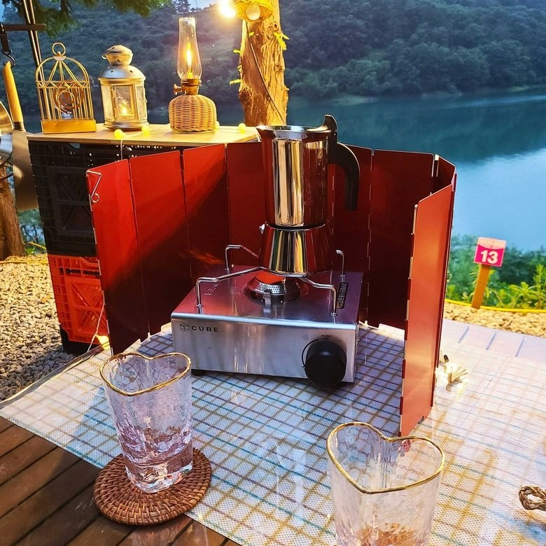 [캠핑모아] 야외 버너 불판 고급 10단 경량 하드코팅 바람막이 용품+파우치
