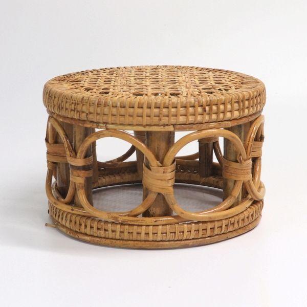 등나무 원목 수제 라탄 스툴 신발장 신발받침대, 중형