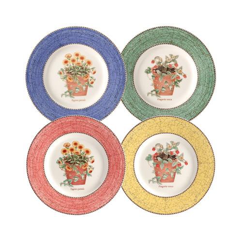 [웨지우드] 사라스가든 20cm 접시 4p (블루/그린/옐로우/핑크)