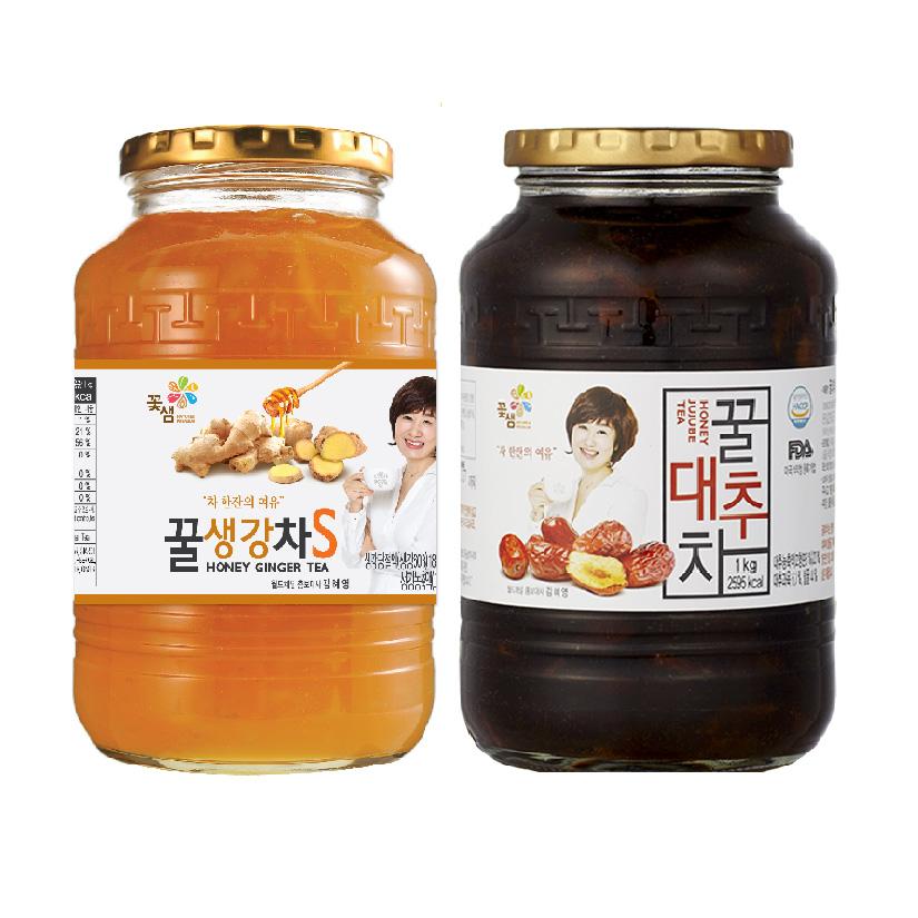 꽃샘 꿀생강차S1kg + 꽃샘꿀대추차1kg