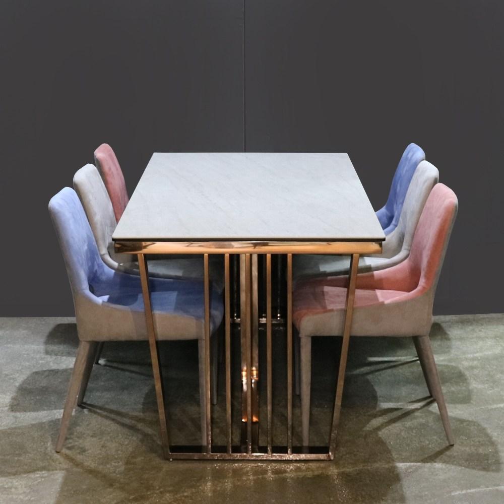 로하스가구 4인용 6인용 로즈골드 프레임 세라믹 식탁 세트, 6인 세라믹 식탁